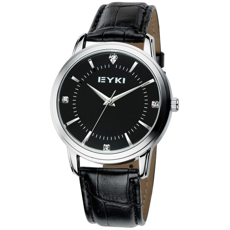 EYKI Genuine Leather Band Gold Case Analog Display Quartz Watch Men Luxury Brand Business Casual Watch