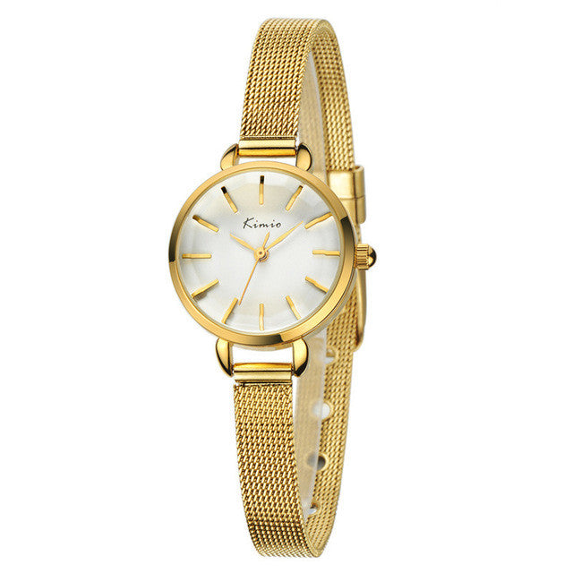 KIMIO New Women Watch Fashion Casual Analog Display Quartz Watch Luxury Gold Lady Watch Women Wristwatch quartz-watch