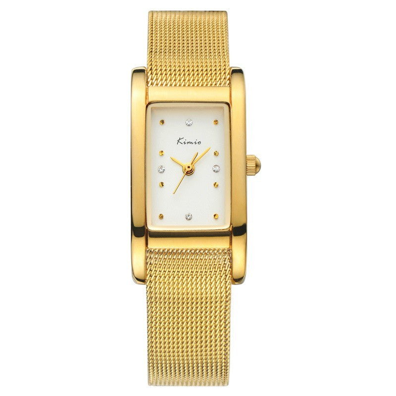 KIMIO New Women Dress Watch Fashion Casual Watch Rectangle Case Analog Display Quartz Watch