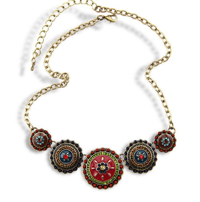 Collares Fashion 2015 Hot Sale Women Bohemia Style Enamel Beads Flowers Choker Chains Statement Necklace Ethnic Vintage Jewelry