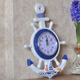 Mediterranean-Style Wooden Helmsman Wall Clock Creative Blue And White Home Decor Watch Wall Small Style