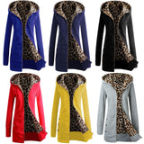 Autumn Winter Fashion Womens Leopard Printed Zipper Up Hooded Coat Jacket Long Sleeve Outwear Sweatshirts