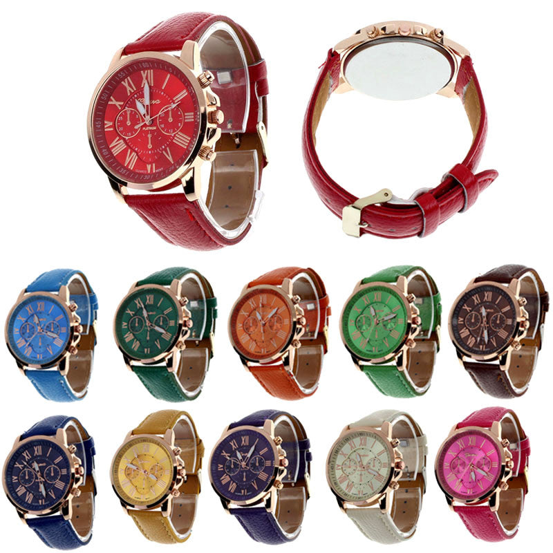 Creative Fashion Watch Roman Numerals Faux Leather Analog Quartz Wach Women Wrist Watch