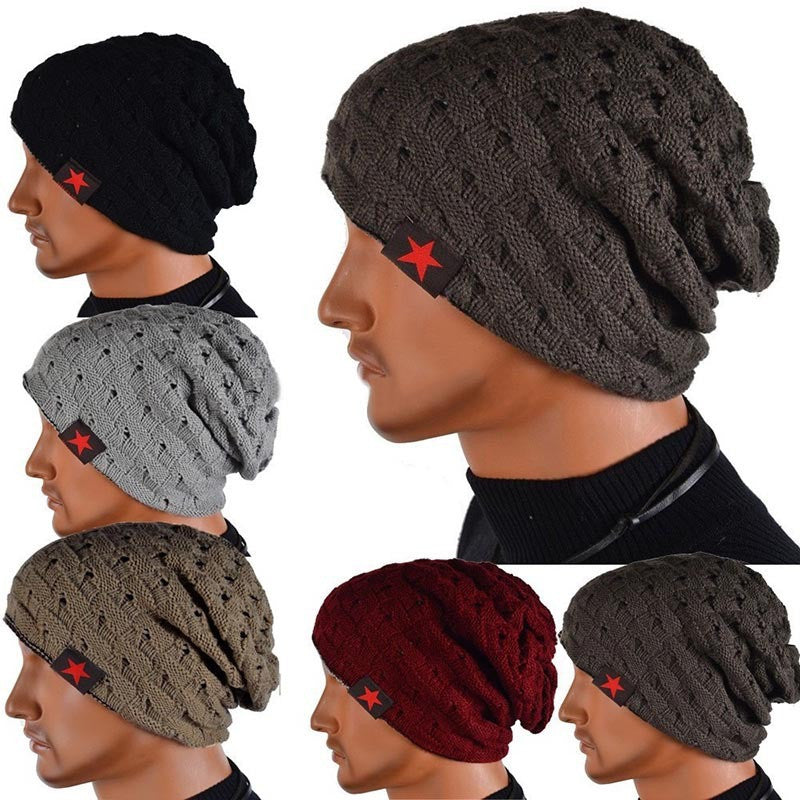 New Brand reversible knitted men warm beanie winter hats caps for men Chunky Baggy skullies