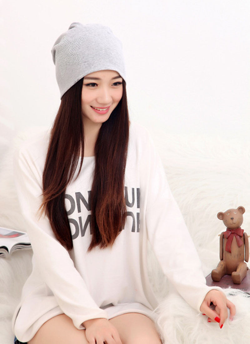 901ce9a106b36 Autumn Fashion New Knit Baggy Beanie Hat with Star Female Warm Winter Hats  for Girls Women