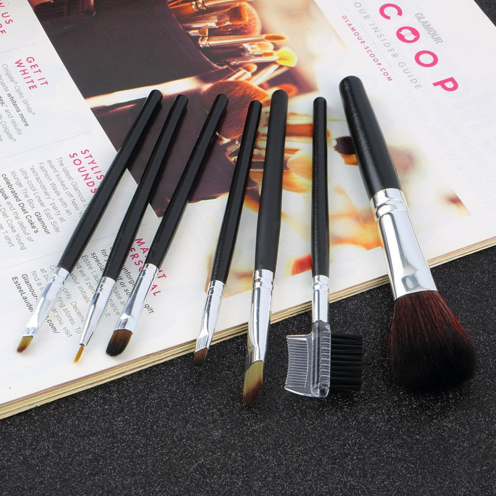 Hot Professional Goat Hair 7Pcs Makeup Brush Set Tools Cosmetic Make Up Brush Set