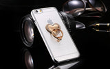 Metal Plating Bling Diamond Pattern Case For Iphone 6 6s / 6s Plus Hard PC Ring Flower Animal Stand Back Phone Cover