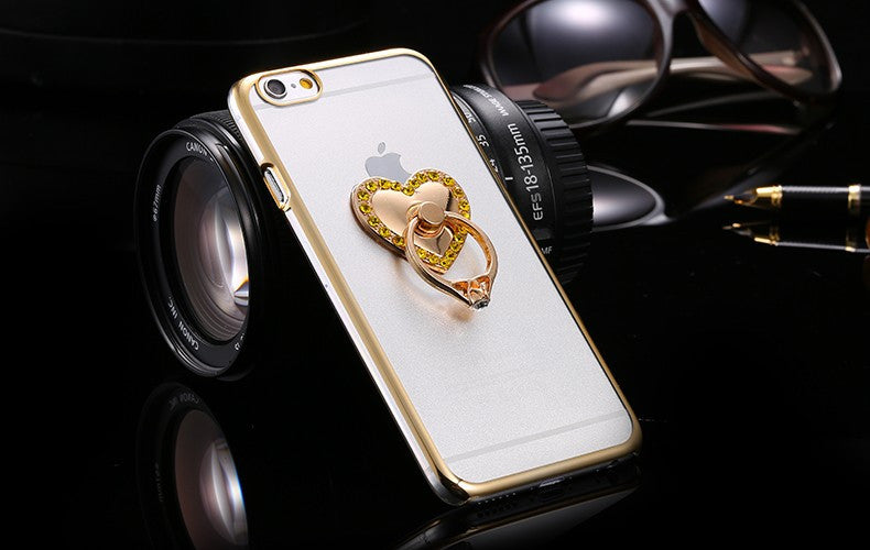 Metal Plating Bling Diamond Pattern Case For Iphone 6 6s / 6s Plus Hard PC Ring Love Stand Back Phone Cover