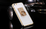 Metal Plating Bling Diamond Pattern Case For Iphone 6 6s / 6s Plus Hard PC Ring Stand Back Phone Cover