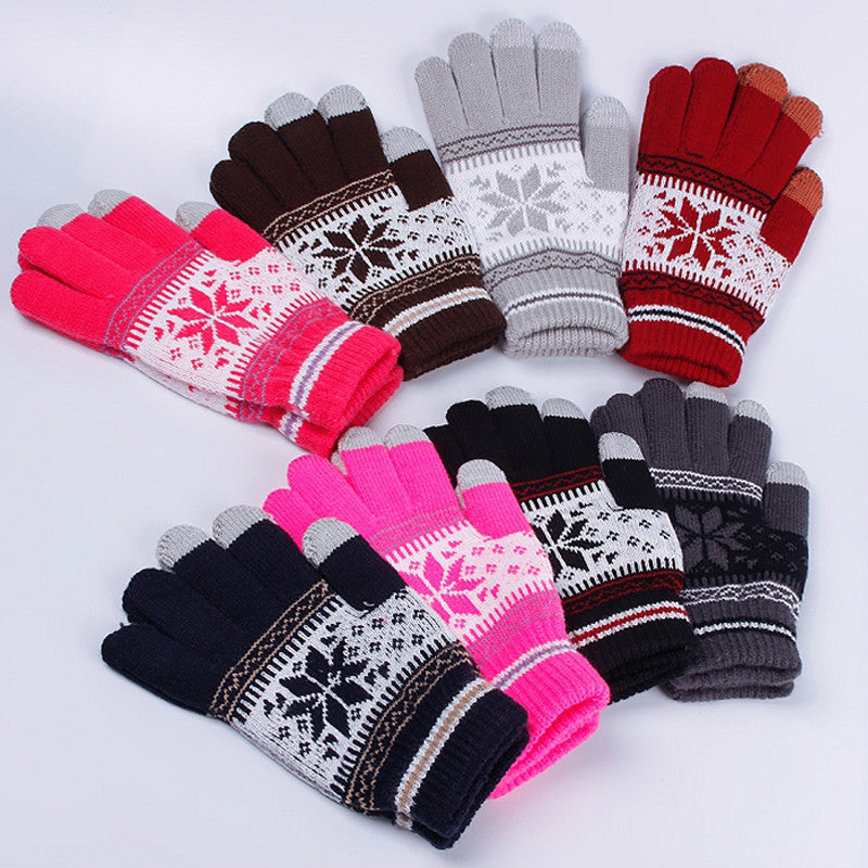Hot Women Winter Warm Touch Screen Smart Touch Sensing Strip Snowflake Cuff Gloves guantes mujer