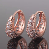 New Small Earings for Women Round Cut White Crystals Cubic Zirconia Hoop Earrings Ladies Wedding Jewelry