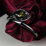Latest design trendy turkish engagement rings black gold calla shaped zircon ring best friends gift