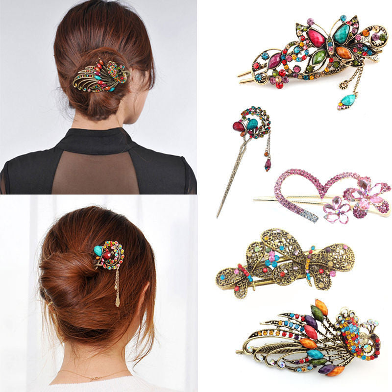 New Fashion Colorful Women Retro Crystal Butterfly Flower Hairpins Hair Stick Hair Clip