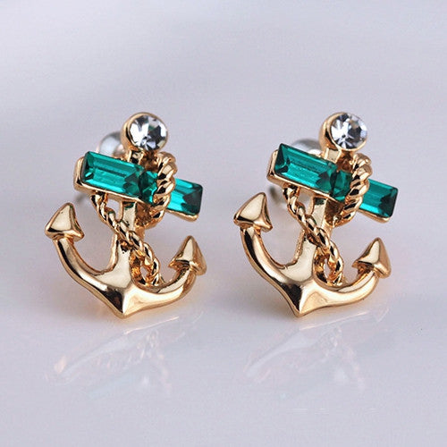 Women's Jewelry Crystal Rhinestone 9K Gold Plated Anchor Earring Studs