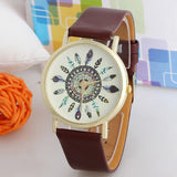 Women Vintage Feather Dial Leather Band Quartz Analog Unique Lady Wrist Watch