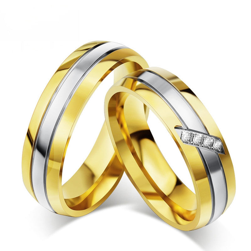 Fashion Gold Plated Couple Ring For Women Men Wedding Engagement Rings 316l Stainless Steel