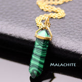 Gold Plated Natural Stone Opal Pendant Necklace For Women Bullet Shape Turquoise Crystal Gem Stone Necklaces