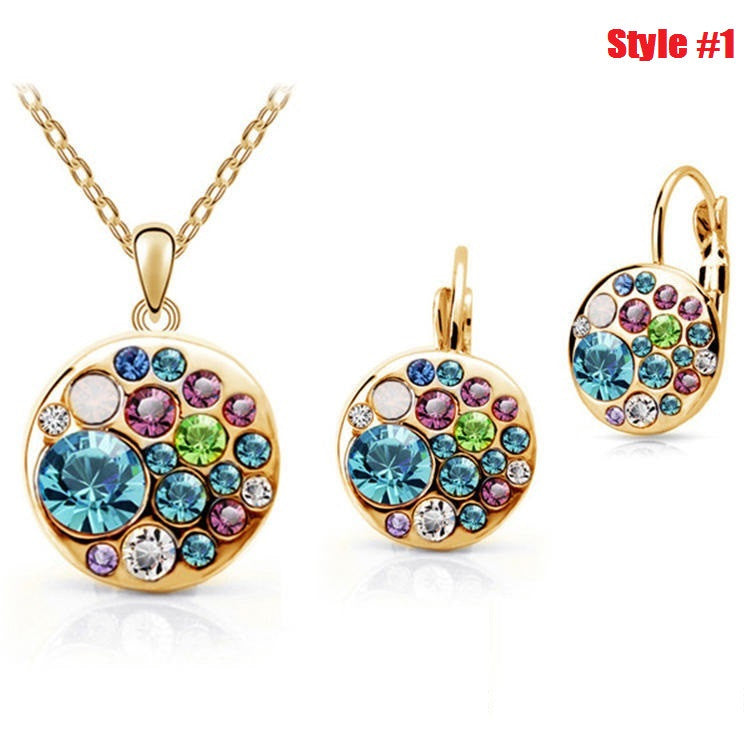 New 18K Gold Plated multicolor Round african costume Crystal Jewelry Sets with necklaces drop earrings for women