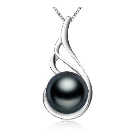 Fashion 925 sterling silver black pearl pendant necklace for women Elegant freshwater pearl jewelry AAAA high quality