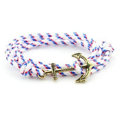 Men Jewelry Navy wind DIY Anchor Bracelet Weave Multilayer Bracelet for Women Cuir Bouton Pression Gold Plated Tom Hope