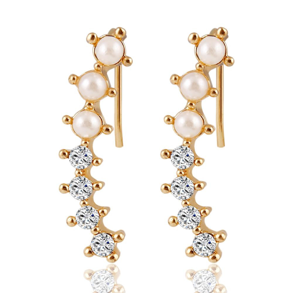 Fashion Hot Ladies Womens Sweet Gold Color simulated Pearl Crystal 6 Beads Cuff Ear Clips Earring Style Earrings Jewelry