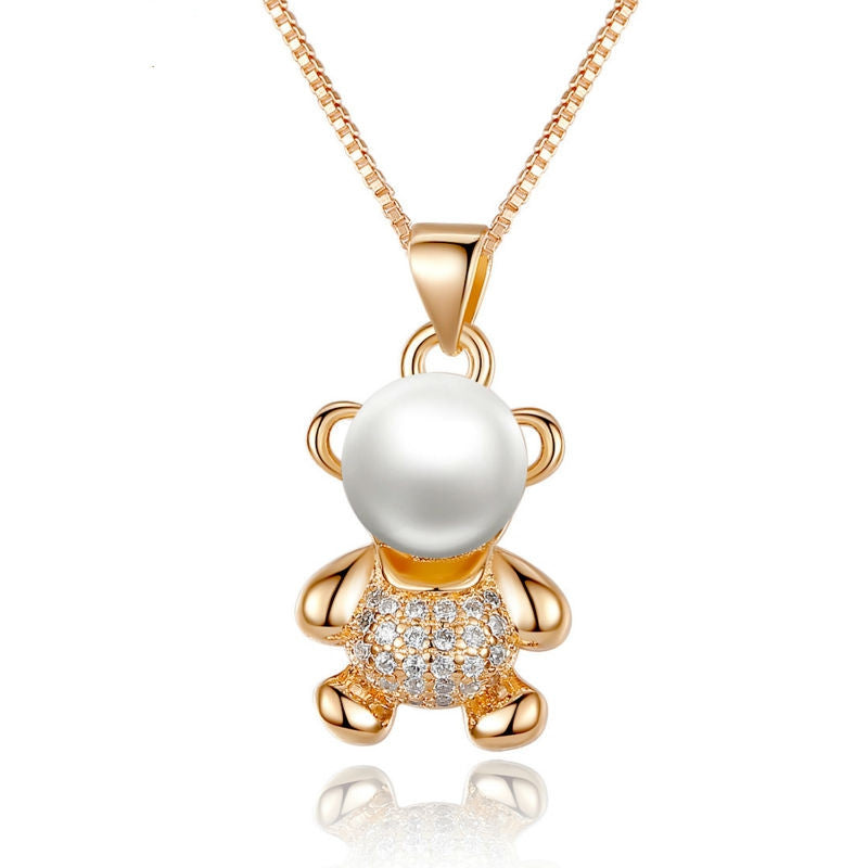 18K Gold Plated Animal Bear Necklaces & Pendants with Paved 25 Piece Micro AAA CZ Cubic Zircon For Women Jewelry