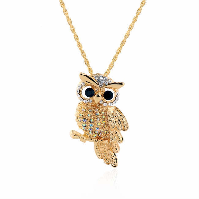 Vintage 18K Gold Rhinestone Filled Cute Owl Necklaces & Pendants For Women Long Necklace