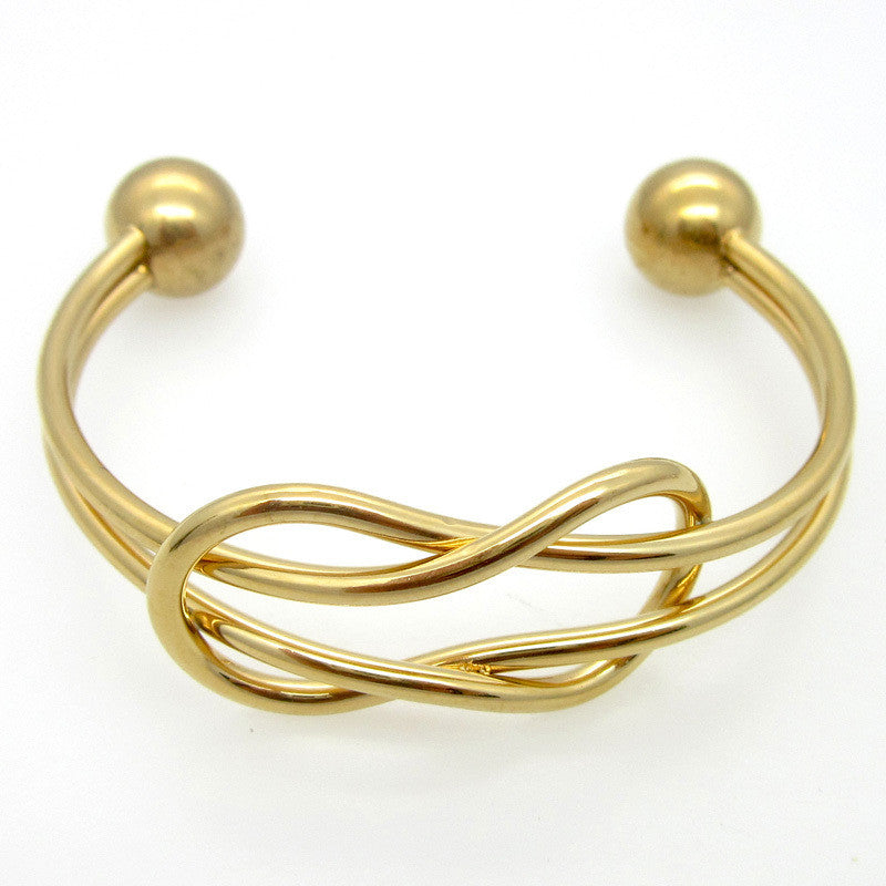 18K Gold Statement Punk Fashion Stainless Steel Opening Line Style Cuff Bangle Bracelets For Women