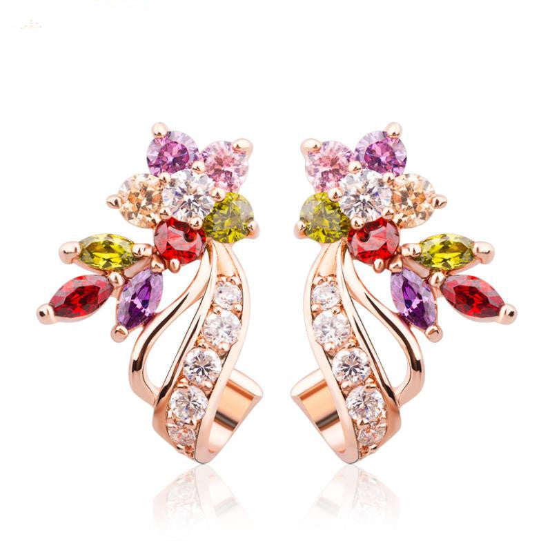 18K Real Gold Plated Gold Flower Stud Earrings with Multicolor AAA Zircon Stone Birthday Gift Jewelry
