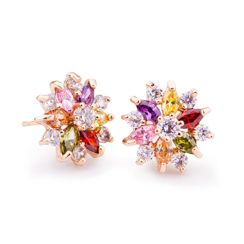 18K Real Gold Plated Gold Star Stud Earrings with Multicolor Zircon Stone For Women Birthday Gift Jewelry