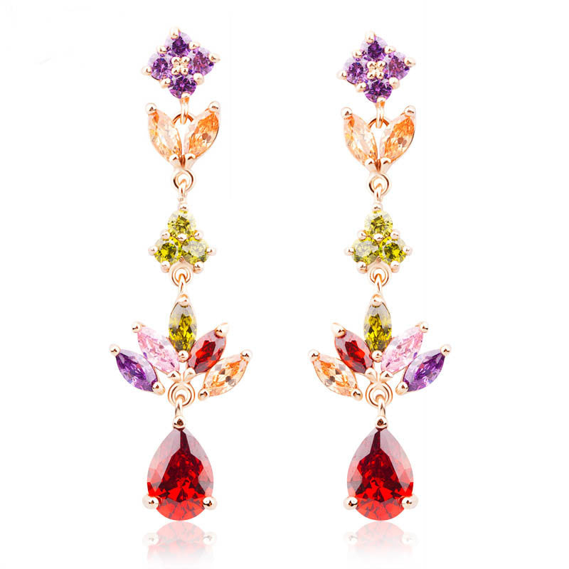 18K Real Gold Plated Gold Unique Dangle Earrings with Multicolor AAA Zircon Stone Engagement Jewelry