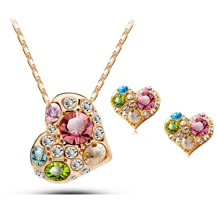 Fashion Jewelry for women 18K Rose Gold Plated Crystal Wedding Bridal Asymmetrical Heart Color Jewelry sets