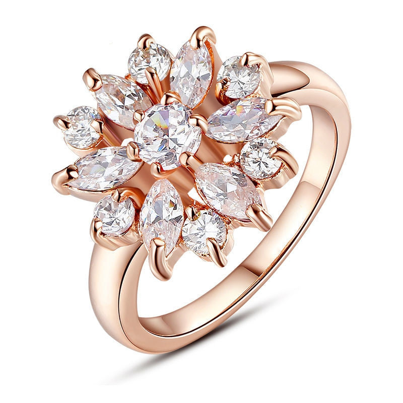 New 18K Rose Gold Plated Finger Ring for Women with AAA Cubic Zircon Engagement Jewelry