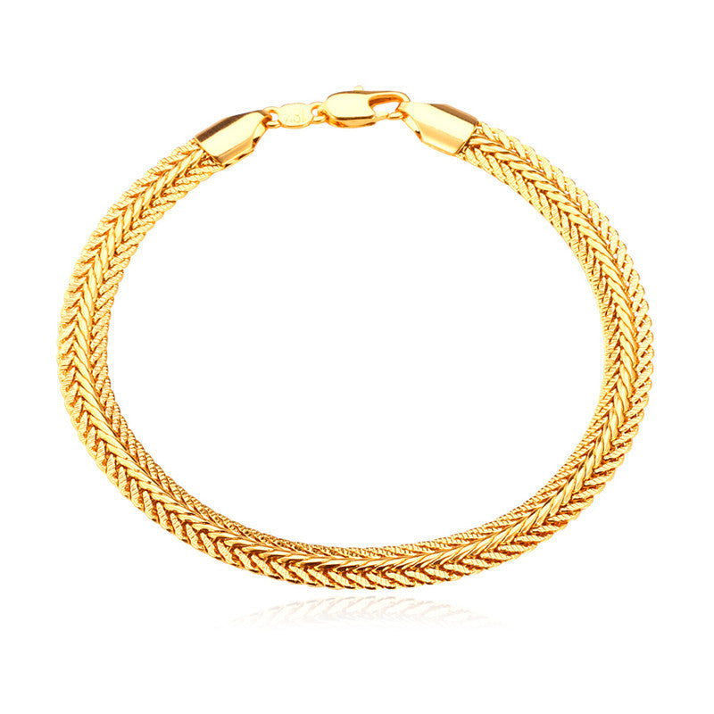 Gold Plated Bracelet New Fashion Rock Style 21 cm 0.6 cm Thick Snake Chain Bracelet Men Jewelry
