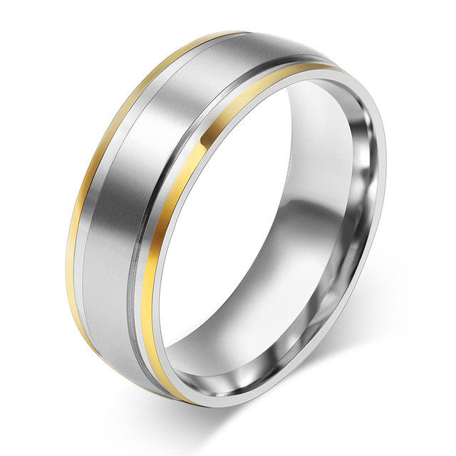 Fashion 18K gold plated rings 316L Stainless Steel rings for men women engagement wedding classic jewelry
