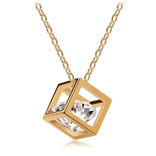 8K Gold Plated Zircon Crystal Vintage choker Pendant Necklaces Fashion Jewelry for women