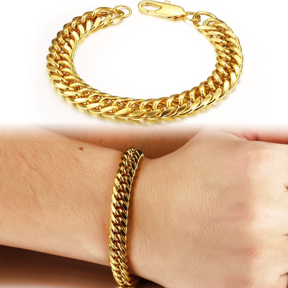 Luxury weddings jewelry 18K Gold plated bracelet men gold plated chain bracelet jewelry men's bracelet chain