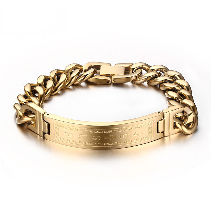 Fashion 18k gold plated bracelets bangles fashion men jewelry jesus cross stainless steel personalized charm man gifts