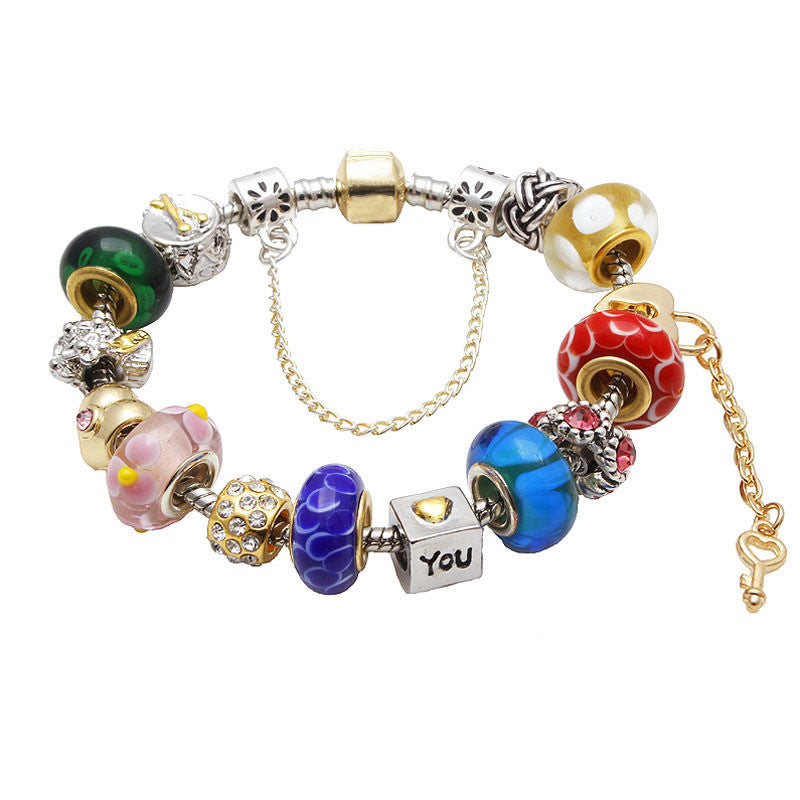 Fashion Silver Plated Charms Bracelet Rose Gold Murano Glass Beads Bracelets & Bangles Original Bracelets For Women Jewelry