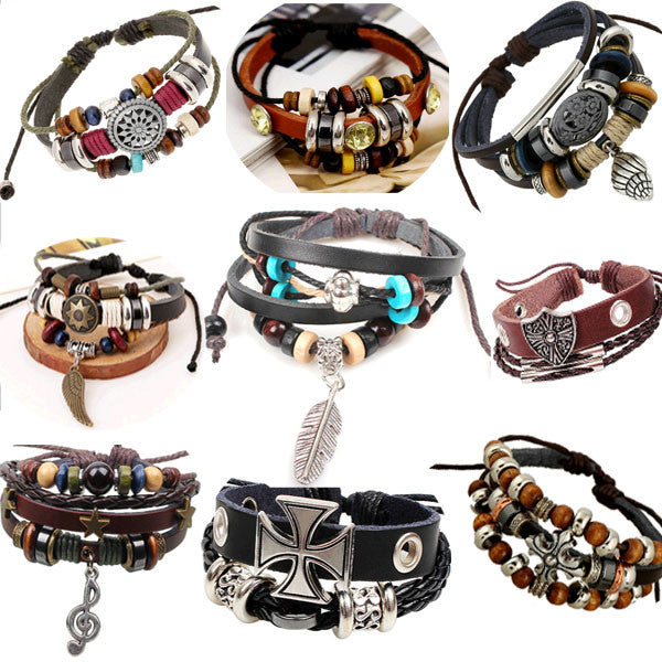 Retro rope leather mens bracelets leather rope hand woven bracelet for men rope braided bracelet male female bracelet Jewelry
