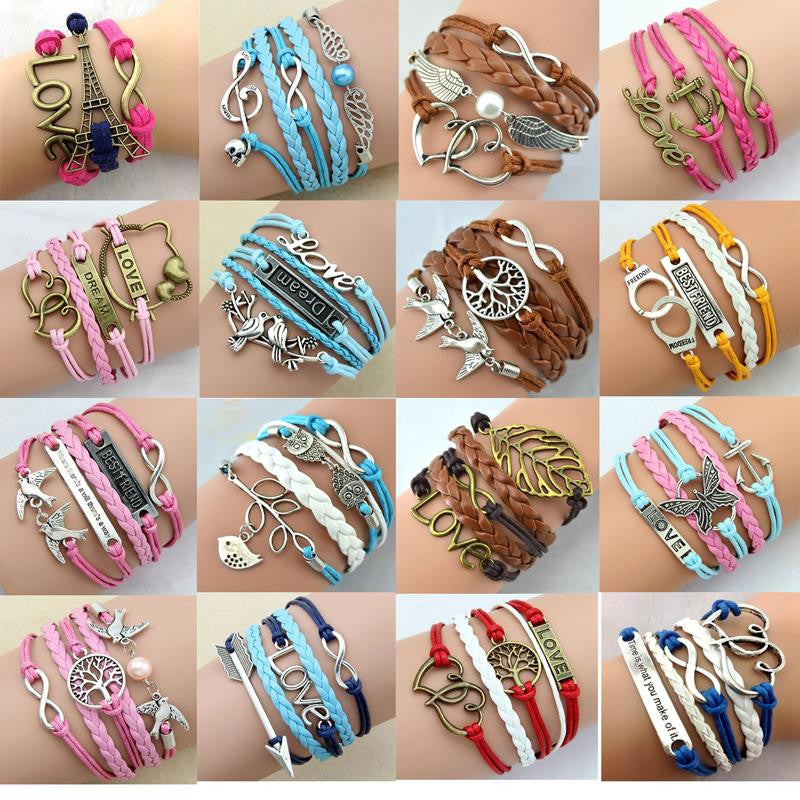 Multilayer Braided Bracelets Leather Wax Cord LOVE Symbol Bracelet Fashionable Women Jewelry