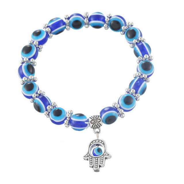 Hamsa Fatima Hand Evil charm magic captivate allure Eyes Bracelet Handmade Beads Bracelet