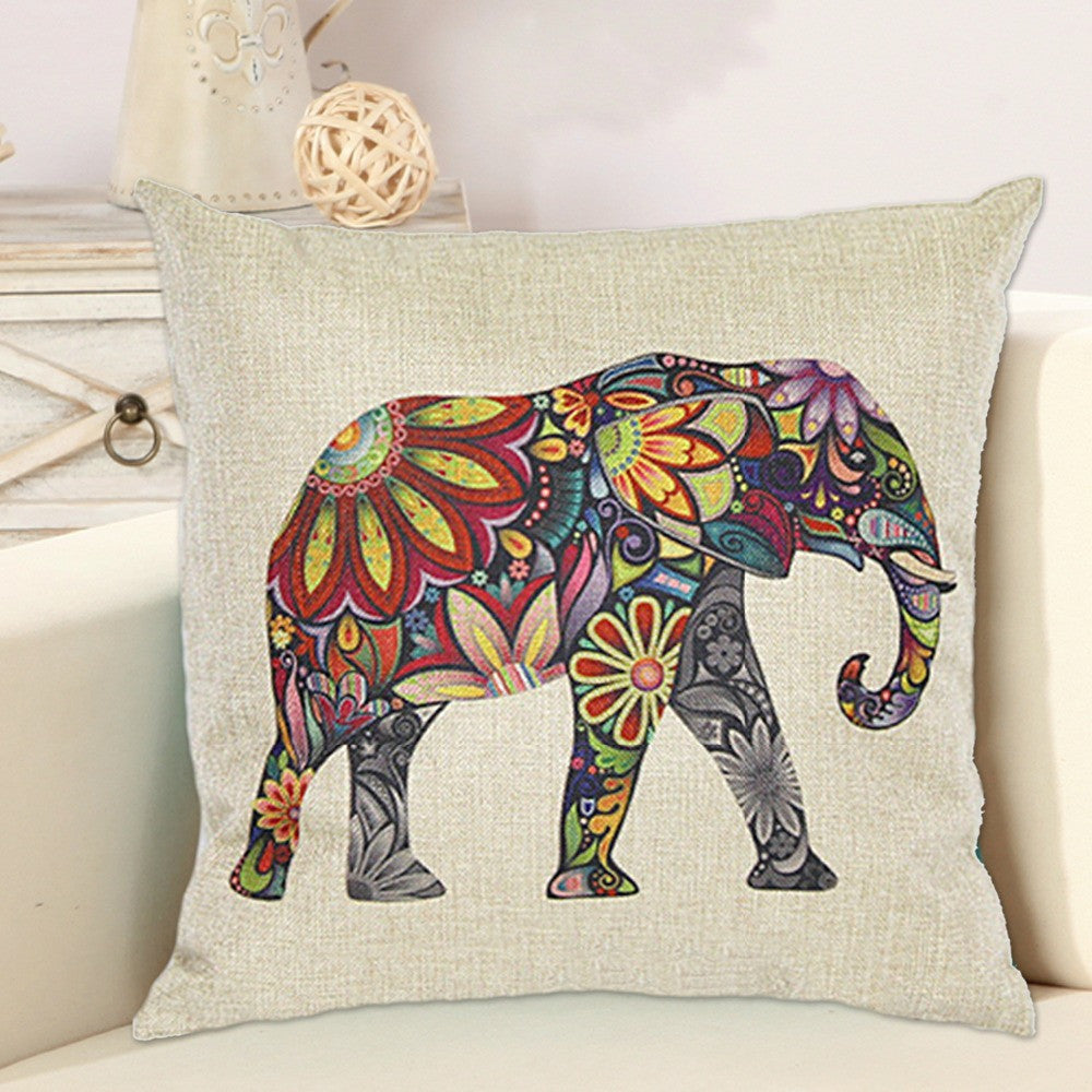 Floral Elephant Printed Linen Cushion Cover For Sofa Throw Pillow Case Chair Car Seat Pillowcases
