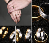 Rings For Women Man CZ Diamond Wedding Ring 18k Gold Plated Stainless Steel Promise Jewelry