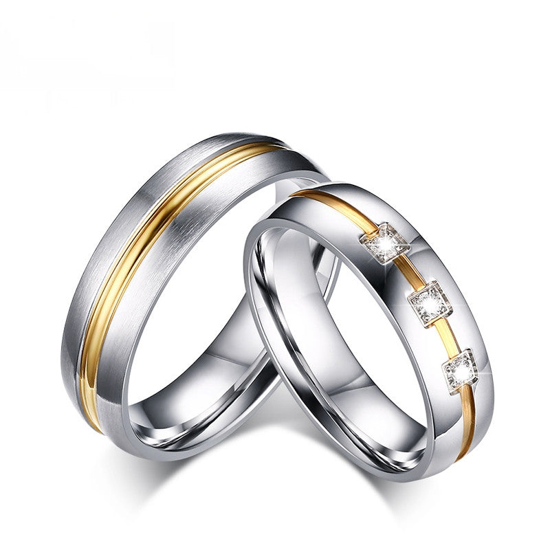 Vintage Wedding Rings For Women Men Stainless Steel Bands Jewelry Engagement CZ Ring