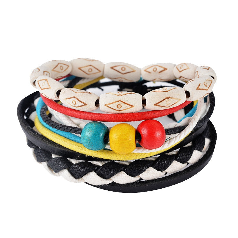 Leather Bracelet Men Multilayer bead Bracelet Punk Wrap Bracelets for Women Vintage punk Casual Men Jewelry