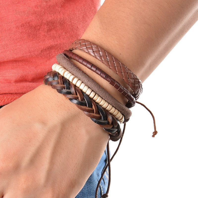 Vintage Cool Punk Men Bracelet Leather Bracelet Multilayer Braided Bracelet Wrap Adjustable Fashion Casual Jewelry 1Set (4PCs)