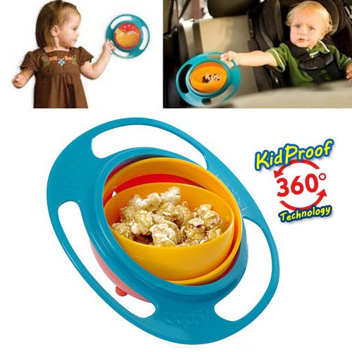 Baby Kid Boy Girl Gyro Feeding Toy Bowl Dishes Spill-Proof Uaniversal 360 Rotate Technology Funny Gift