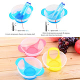 Baby Suction Cup Bowl Temperature Sensing Spoon and Cover Slip-resistant Solid Feeding Set for Learnning Dishes