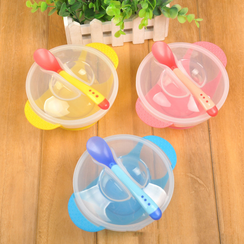 Toddler Baby Kids Child Feeding Lid Training Bowl with Spoon Cartoon Binaural Baby Feeding Tableware Children Plate Sucker Bowl